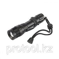 Фонарь, CREE LED 3 Вт, зум, 3 режима 100%-50%-строб, клипса, ремешок, 160 лм, 200 м, 3хААА// Stern
