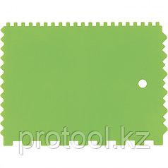 Шпатель для клея, пластмассовый, 130х170 мм, зубчатый// СИБРТЕХ