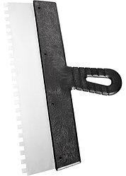 Шпатель из нержавеющей стали, 250 мм, зуб 4х4 мм, пластмассовая ручка // СИБРТЕХ