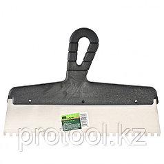 Шпатель из нержавеющей стали, 350 мм, зуб 8х8 мм, пластмассовая ручка // СИБРТЕХ