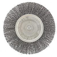 Щетка для дрели 100 мм, плоская со шпилькой, витая проволока // СИБРТЕХ