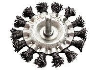 Щетка для дрели, 100 мм, плоская со шпилькой, крученая металлическая проволока // MATRIX