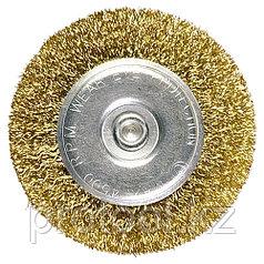 Щетка для дрели, 30 мм, плоская со шпилькой, латунированная витая проволока // MATRIX
