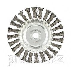 Щетка для УШМ 125 мм, М14, плоская, крученая проволока 0,8 мм// MATRIX