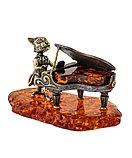 """Сувенир """"Кот за роялем"""". Ручная работа, янтарь., фото 2"""