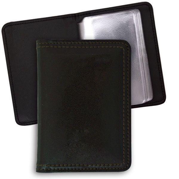 Визитница карманная INDEX на 20 визиток, 12 х 8,5 см, кожзам, черная