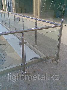 Перила из нержавейки со стеклом, фото 2