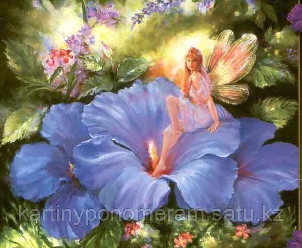 """Картина по номерам """"Фея на голубых цветах"""""""