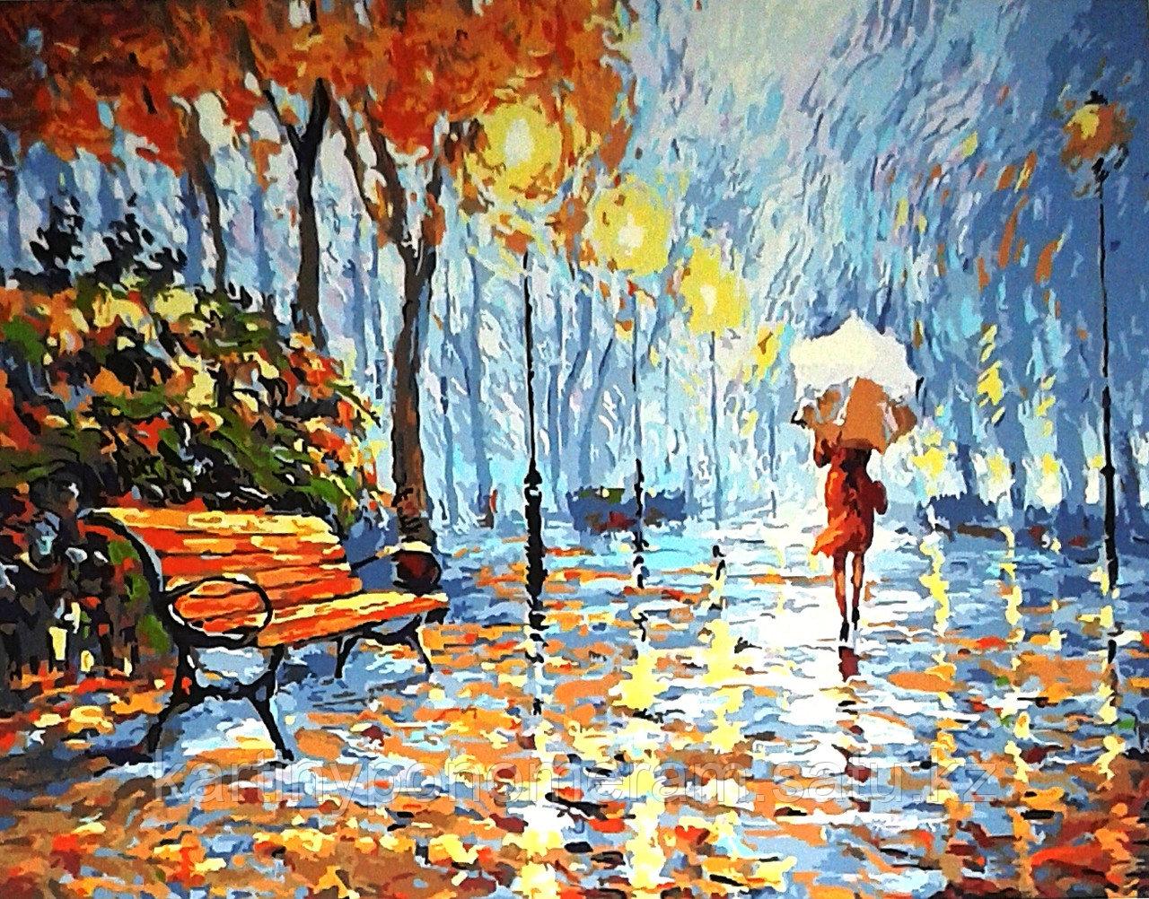 """Картина по номерам """"Прогулка под белым зонтом. Л.Афремов"""""""