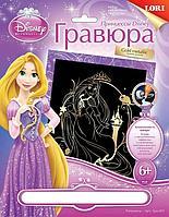 """Гравюра большая Принцессы Disney с эффектом золота """"Рапунцель"""""""