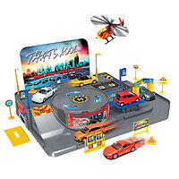 """Игровой набор """"Гараж"""" с 3 машинками и вертолетом, фото 1"""