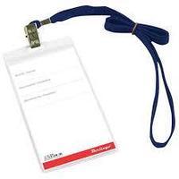 Бейдж горизонтальный, 54 х 90 мм, с синим шнурком, с металлич. клипом, прозрачный