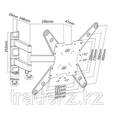 Кронштейн для монитора поворотный Brateck LDA07-443, до 35 кг, фото 3