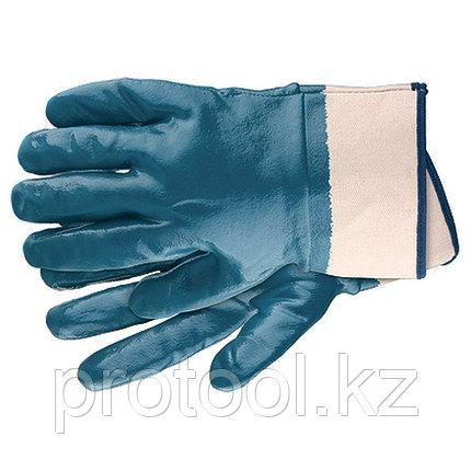Перчатки рабочие из трикотажа с нитриловым обливом, крага, L //СИБРТЕХ, фото 2