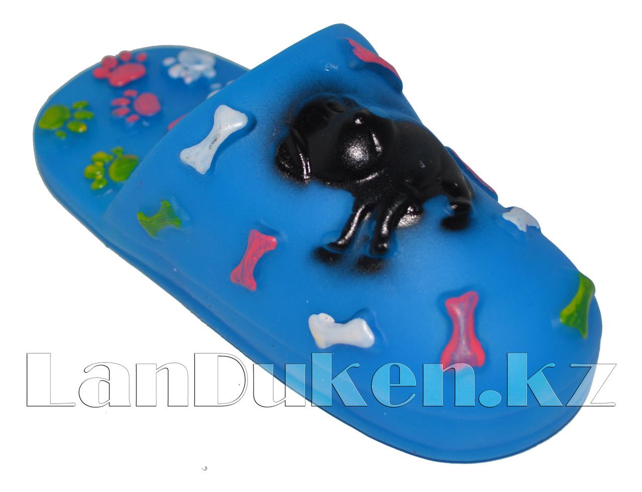 """Игрушка для собак с пищалкой """"Тапка"""" синяя - фото 2"""