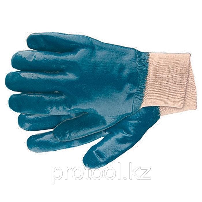 Перчатки рабочие из трикотажа с нитриловым обливом, манжет, M //СИБРТЕХ