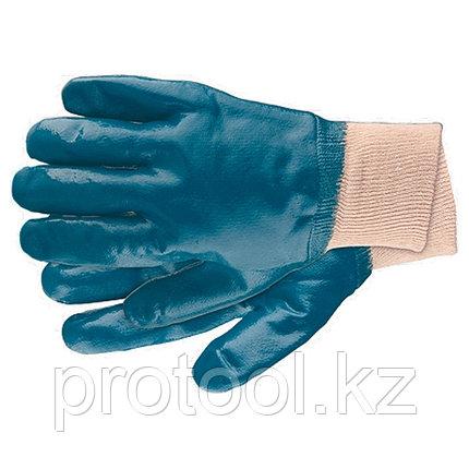 Перчатки рабочие из трикотажа с нитриловым обливом, манжет, M //СИБРТЕХ, фото 2