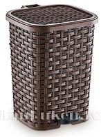 Mусорное ведро с педалью 12 литров плетёное 01053 темно-коричневое