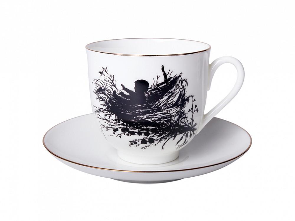 Чашка с блюдцем кофейная рис. Силуэты. Гнездышко. Костяной фарфор. Авторская работа