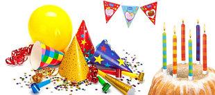 Свечи, шарики, фейерверки для торта и другие аксессуары для праздника
