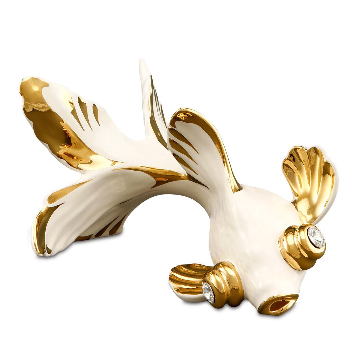 Статуэтка Золотая рыбка. Ручная работа, керамика. Италия