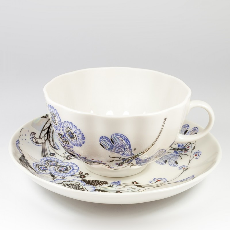 Чашка с блюдцем Шепот стрекозы, ручная роспись, ИФЗ