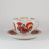Чайная пара Красные петушки. Императорский фарфор. Ручная роспись, фото 3