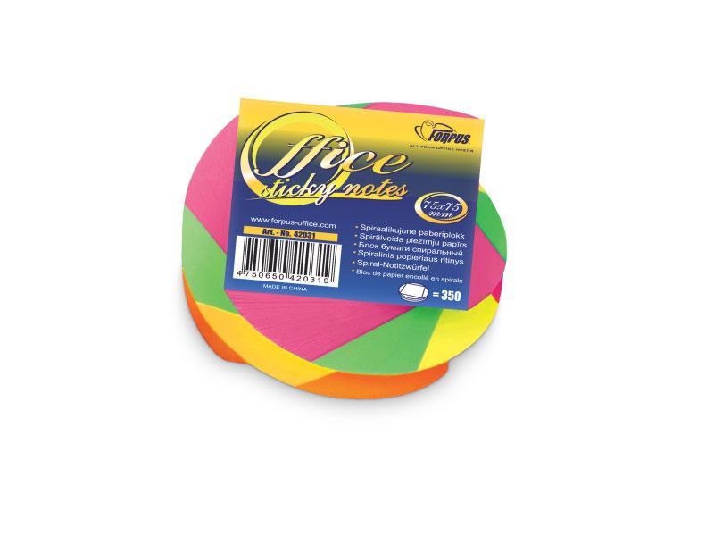 Блок бумаги для заметок NEON TWISTED, 75х75мм, 350 л. яркие неоновые цвета