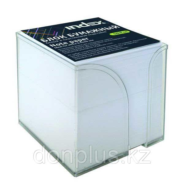 Блок для записей INDEX в подставке белый 9х9х5 см