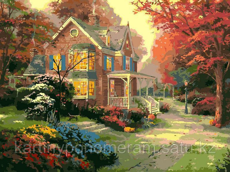 """Картина по номерам """"Дом у красного клена"""""""
