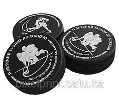 Цветная печать на хоккейных шайбах