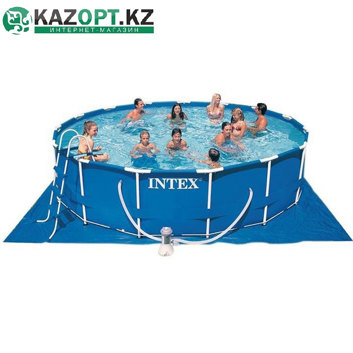Бассейн каркасный круглый 457х122 см (насос с фильтром 220V, лестница, тент, подстилка)