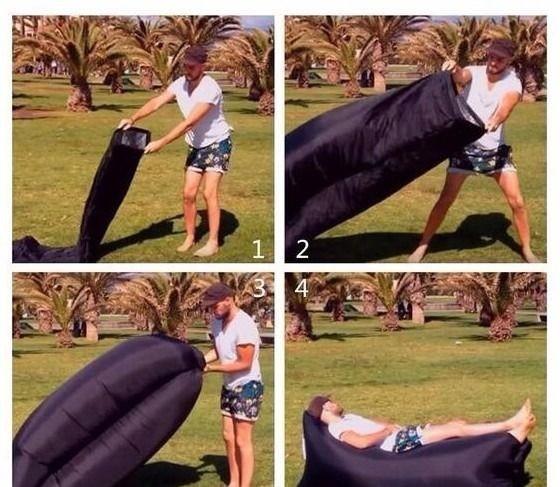Надувной лежак Lamzak (Ламзак) Черный