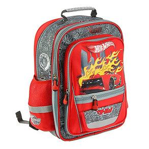 Рюкзак школьный эргономичная спинка Mattel Hot Wheels Junior 39*34*19 для мальчика, красный, фото 2