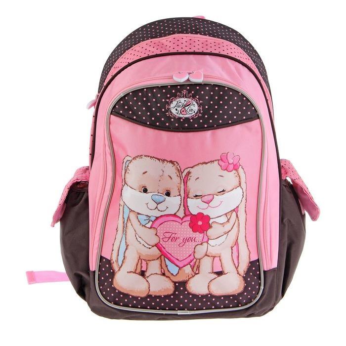 Рюкзак школьный эргономичная спинка Jack&Lin 42*29*16 см, для девочки, розовый/черный