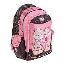 Рюкзак школьный эргономичная спинка Jack&Lin 42*29*16 см, для девочки, розовый/черный, фото 2