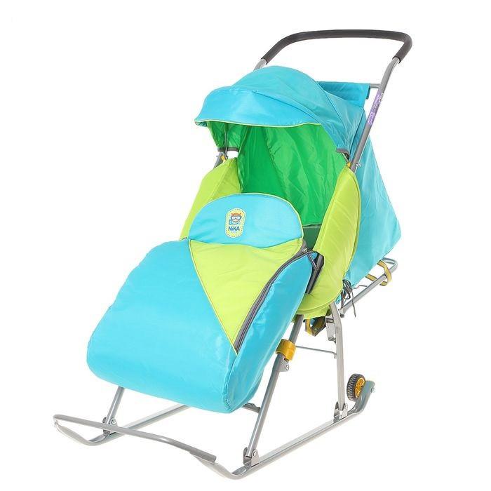 Детские Санки-коляска «Тимка Премиум». Цвет голубой