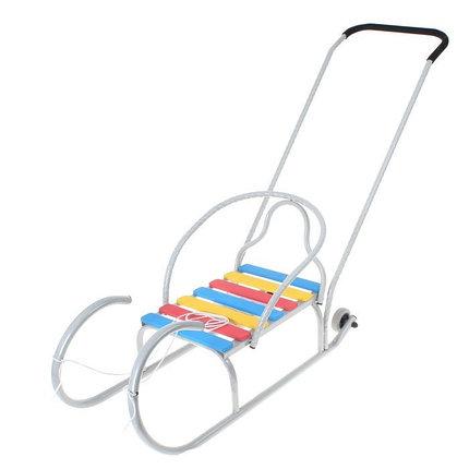 Детские Санки «Лео-4вк» с колёсиками, с толкателем, цвет серебро, фото 2