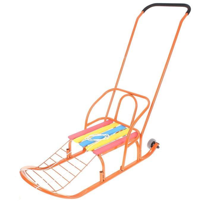 Детские Санки «Кирюша-7к» с толкателем, колёсиками, цвет оранжевый