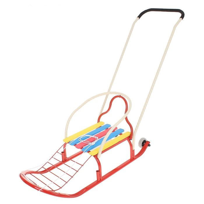 Детские Санки «Кирюша-4вк» с толкателем, с колёсиками, цвет красный