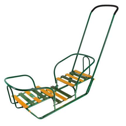 Детские Санки для двойняшек с толкателем, цвет зеленый, фото 2