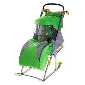 Детские Санки-коляска «Ника детям 2». Цвет зелёный, фото 2