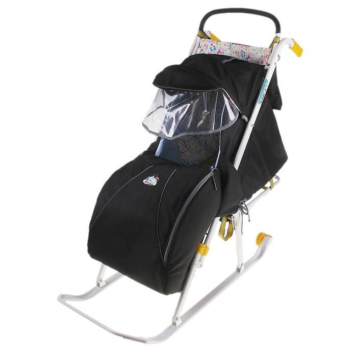 Детские Санки-коляска «Ника детям 2». Цвет чёрный