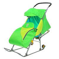 Детские Санки-коляска «Тимка Премиум». Цвет зеленый