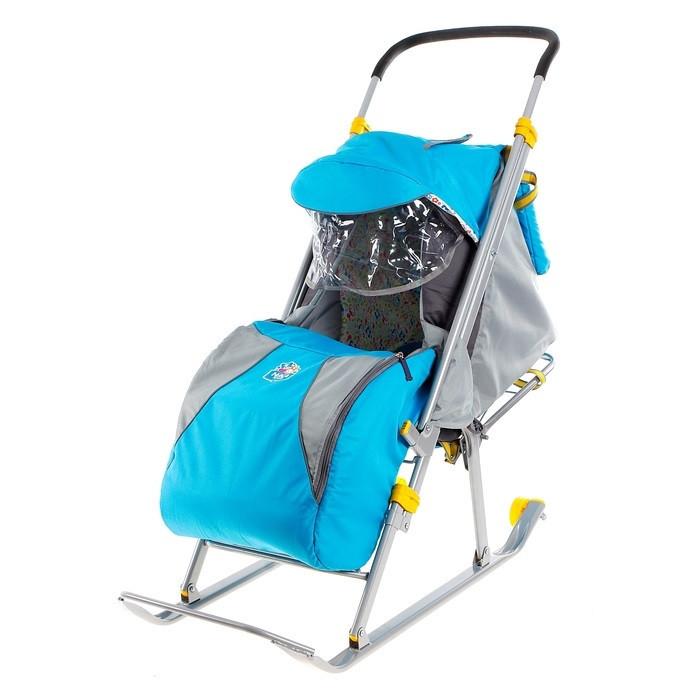 Детские Санки-коляска «Ника Детям 4». Цвет бирюза