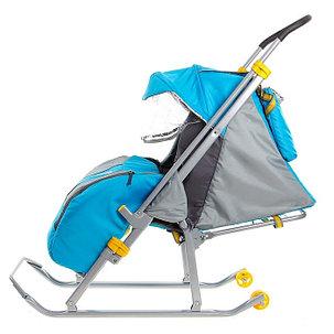 Детские Санки-коляска «Ника Детям 4». Цвет бирюза, фото 2