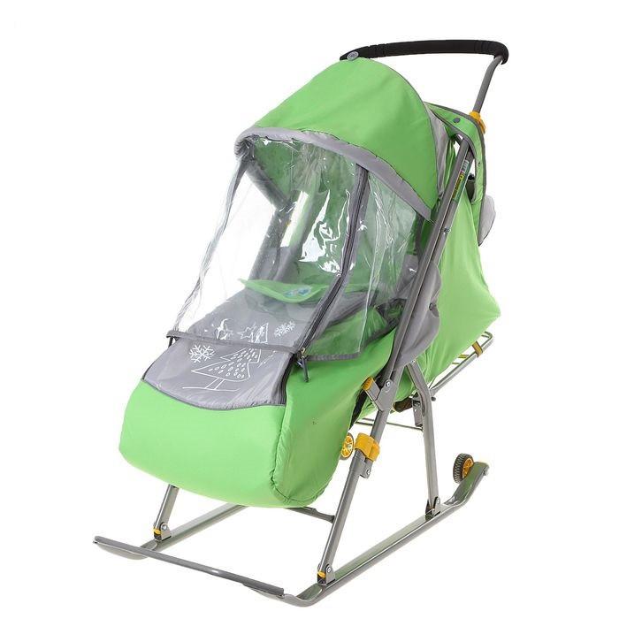 Детские Санки-коляска «Ника Детям 4». Цвет зелёный