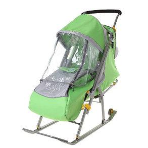Детские Санки-коляска «Ника Детям 4». Цвет зелёный, фото 2