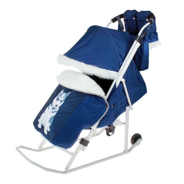 """Санки-коляска """"Хаски"""" с прорезиненными колёсами, цвет синий"""