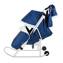 """Санки-коляска """"Хаски"""" с прорезиненными колёсами, цвет синий, фото 3"""
